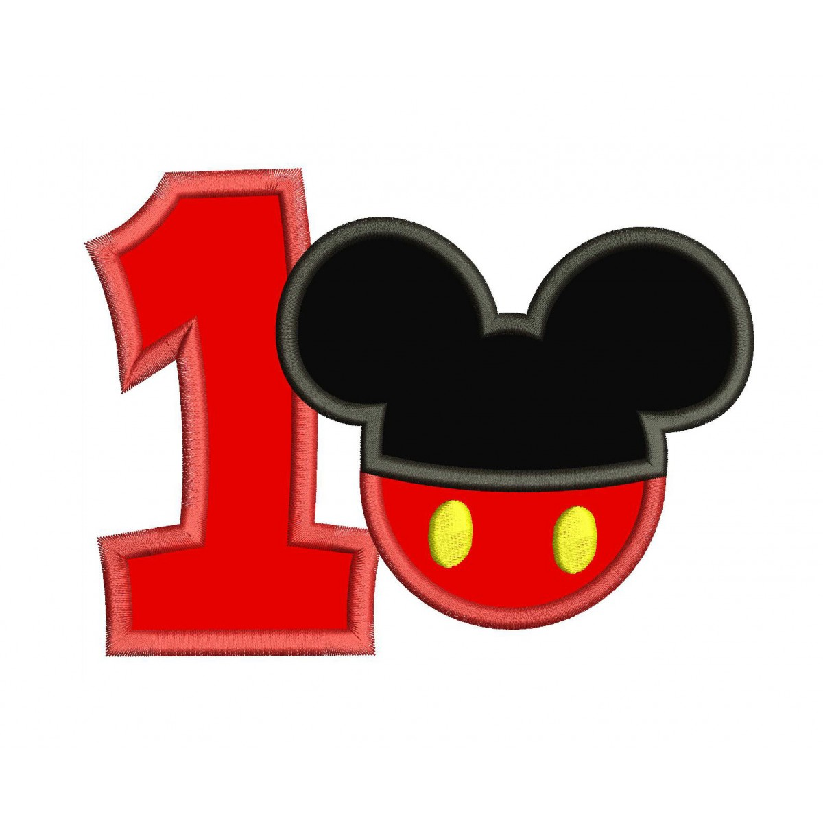 1st Birthday Mickey Number 1 Applique Design