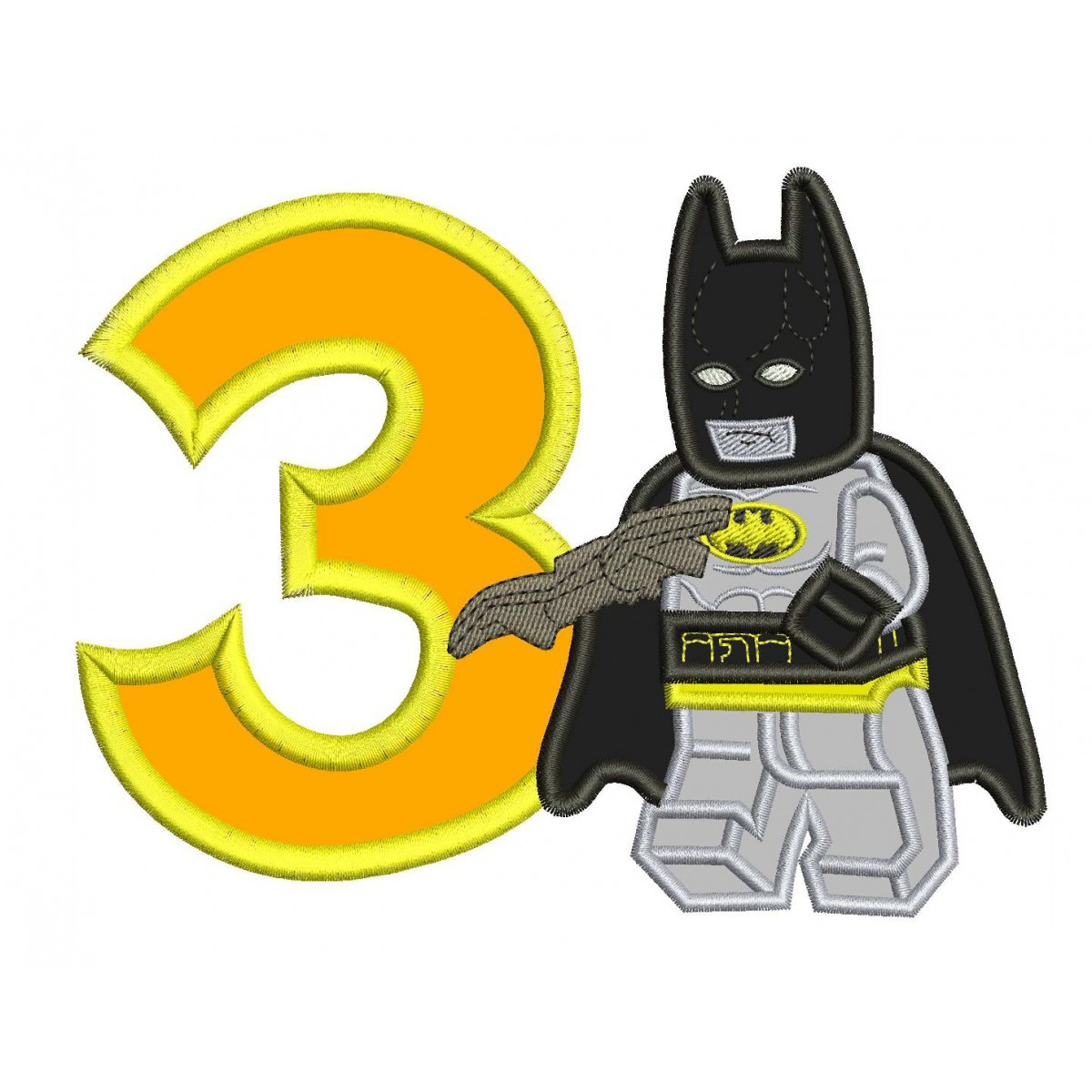 3rd Birthday Lego Batman Applique Design
