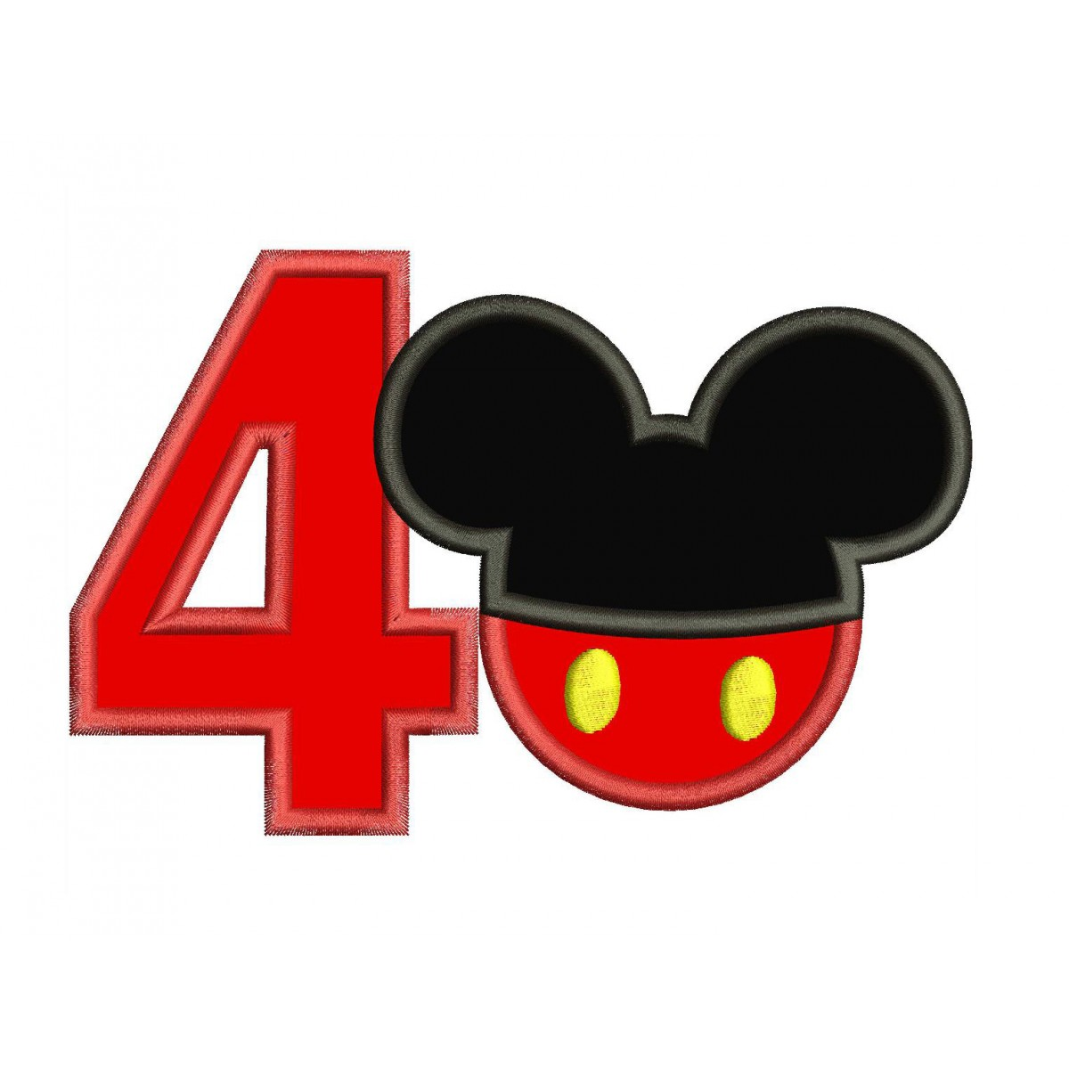 4th Birthday Mickey Number 4 Applique Design