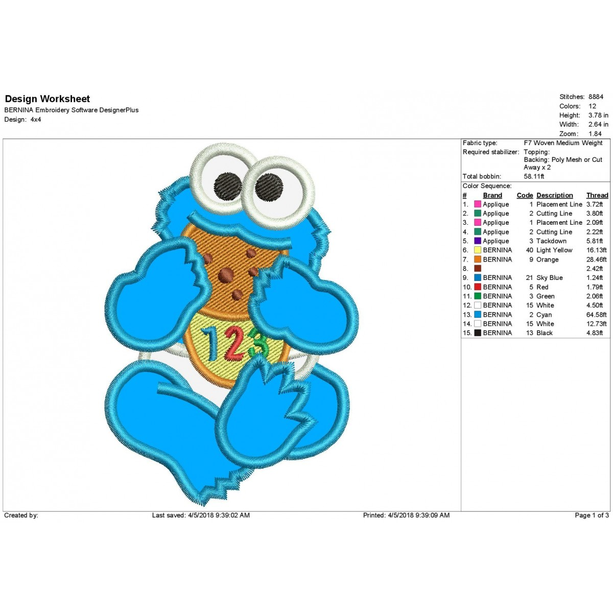 Baby Cookie Monster Sesame Applique Design