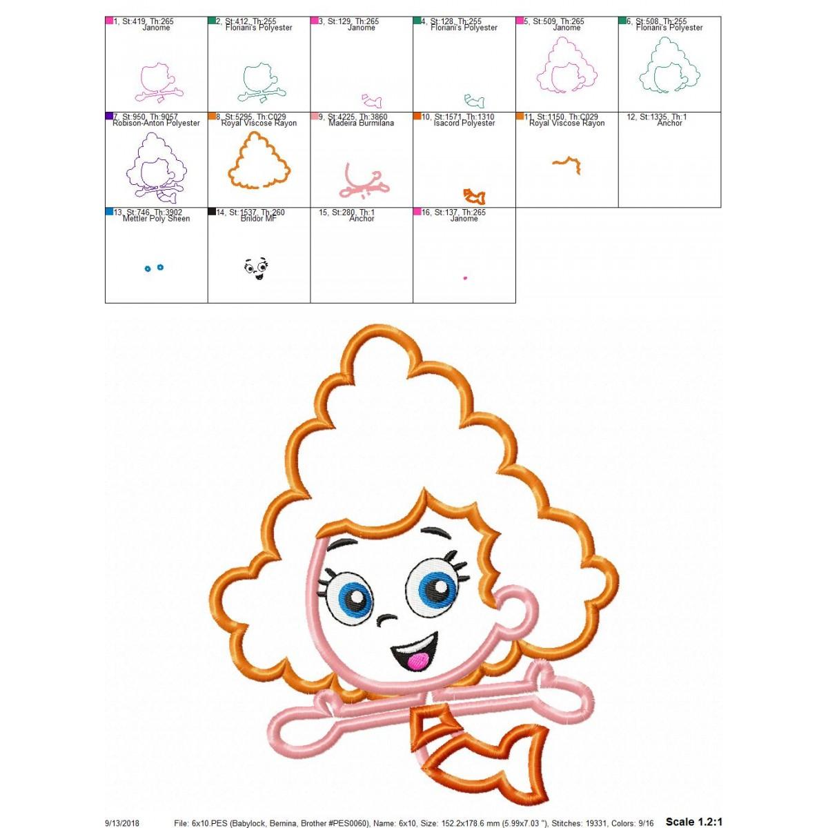 Bubble Guppies Deema Applique Embroidery Design Instant Download