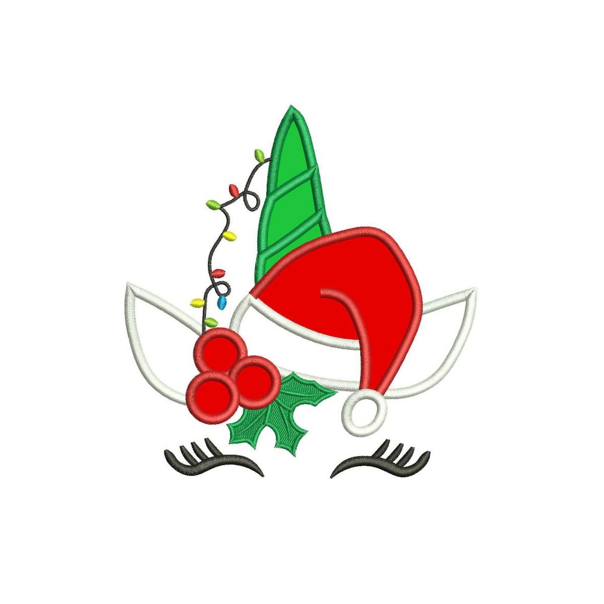 Christmas Unicorn.Christmas Unicorn Applique Design Christmas Applique Design