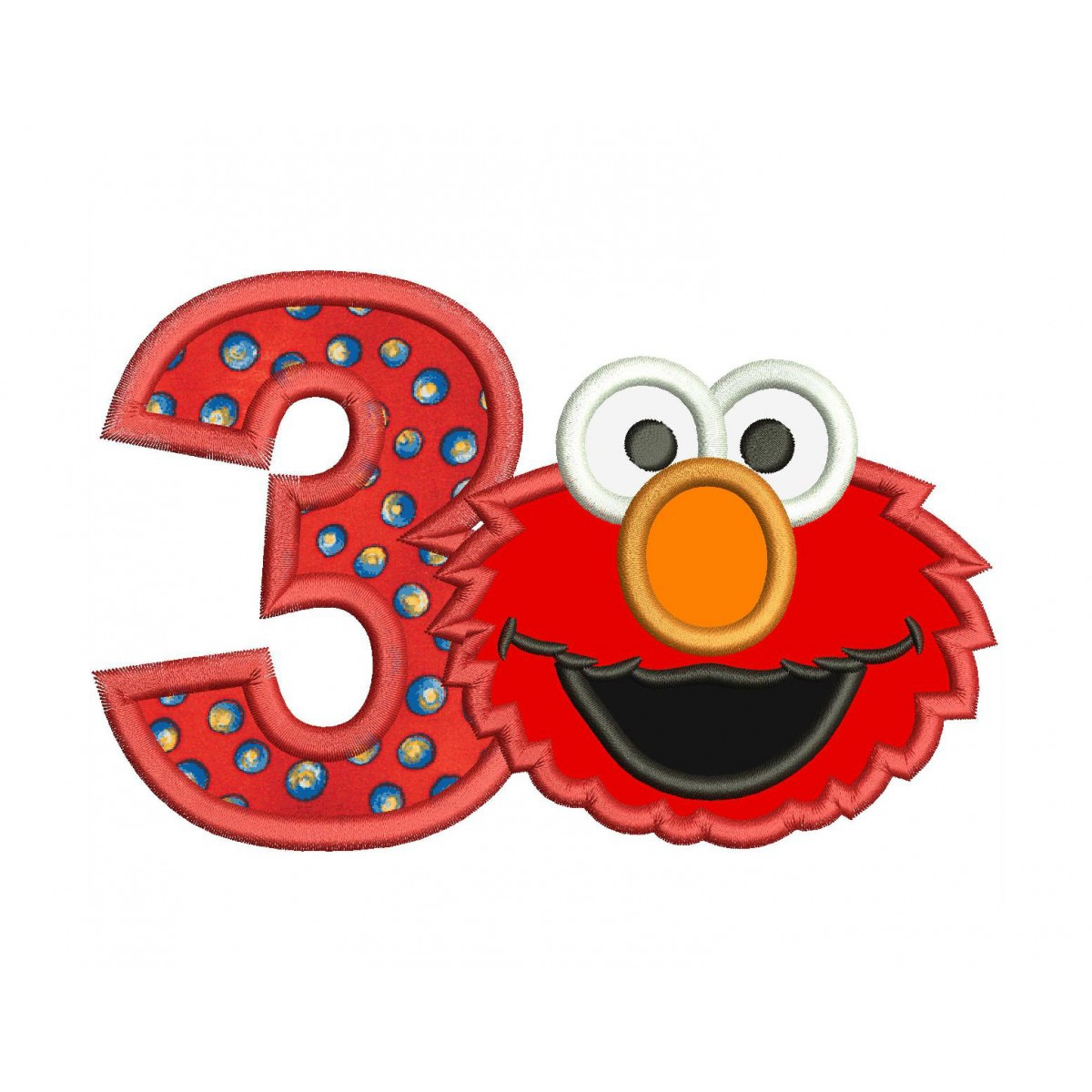 Elmo 3rd Birthday Applique Design