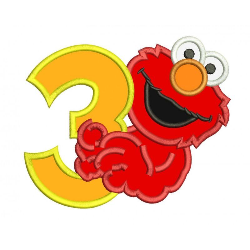 Elmo 3rd Birthday Machine Applique Design