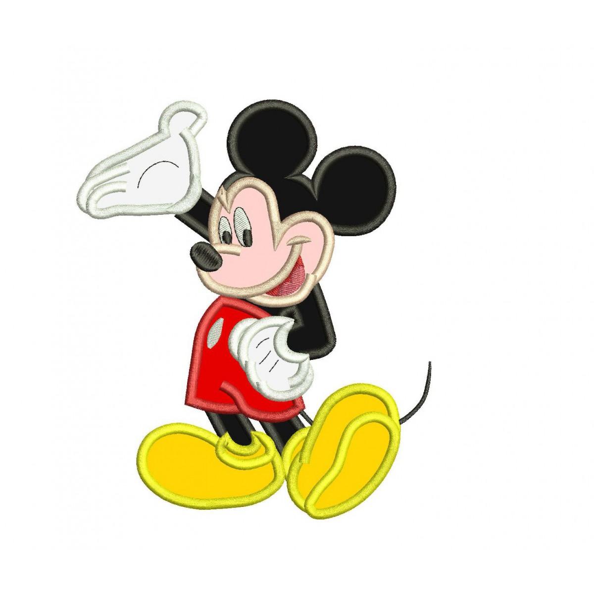 Hello Mickey Mouse Applique Design