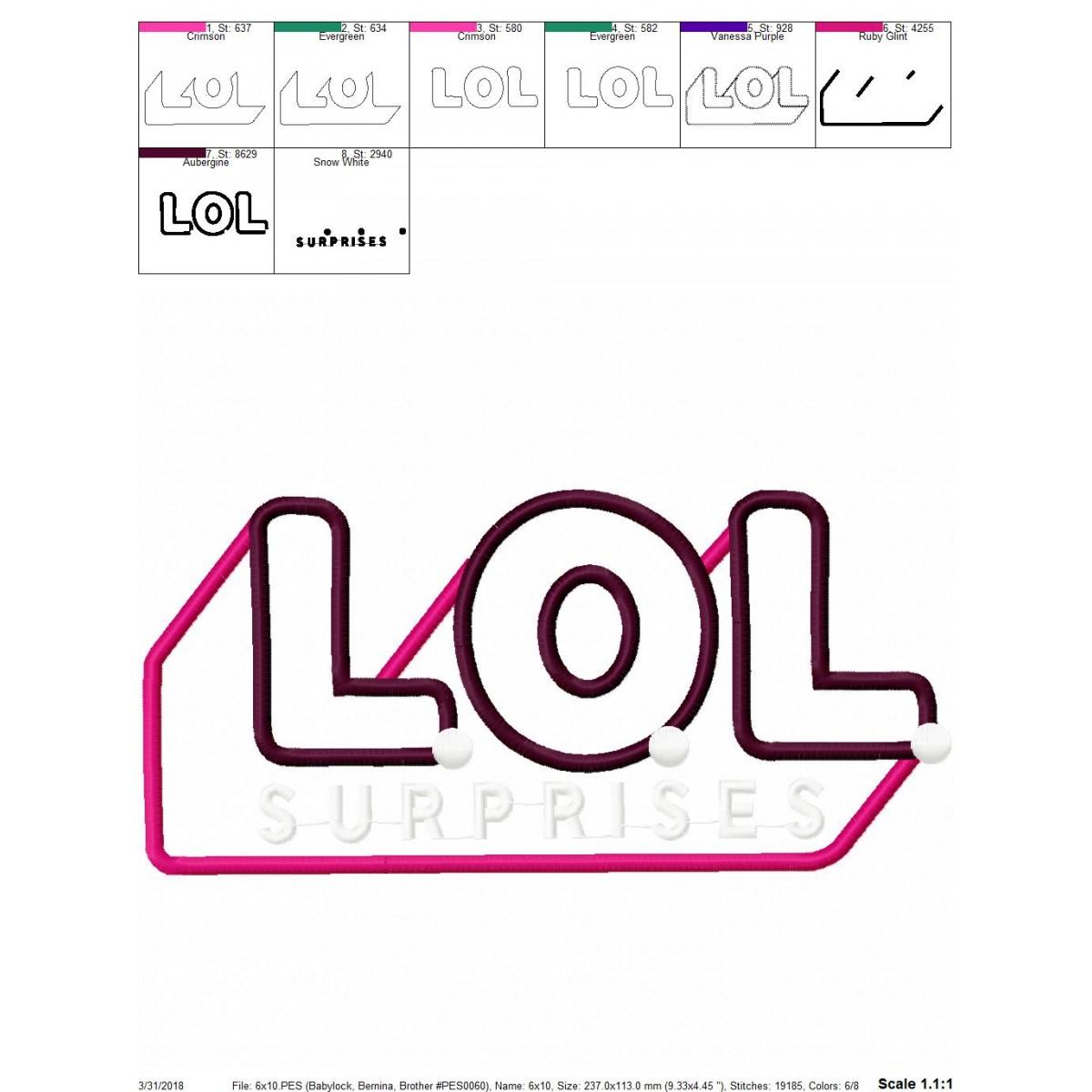 Lol Surprise Logo Applique Design