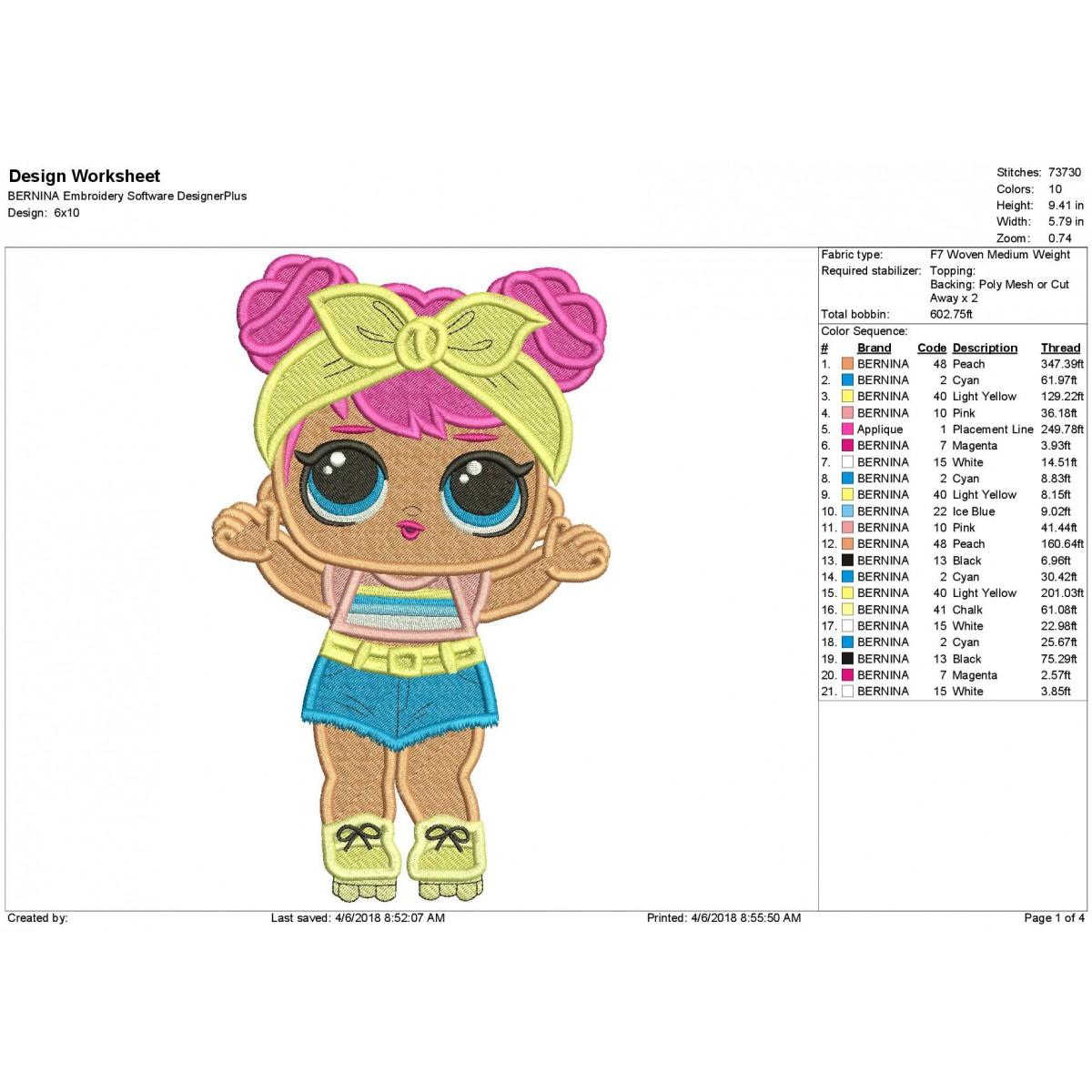 Lol Surprise Dolls Dawn Filled Embroidery Design