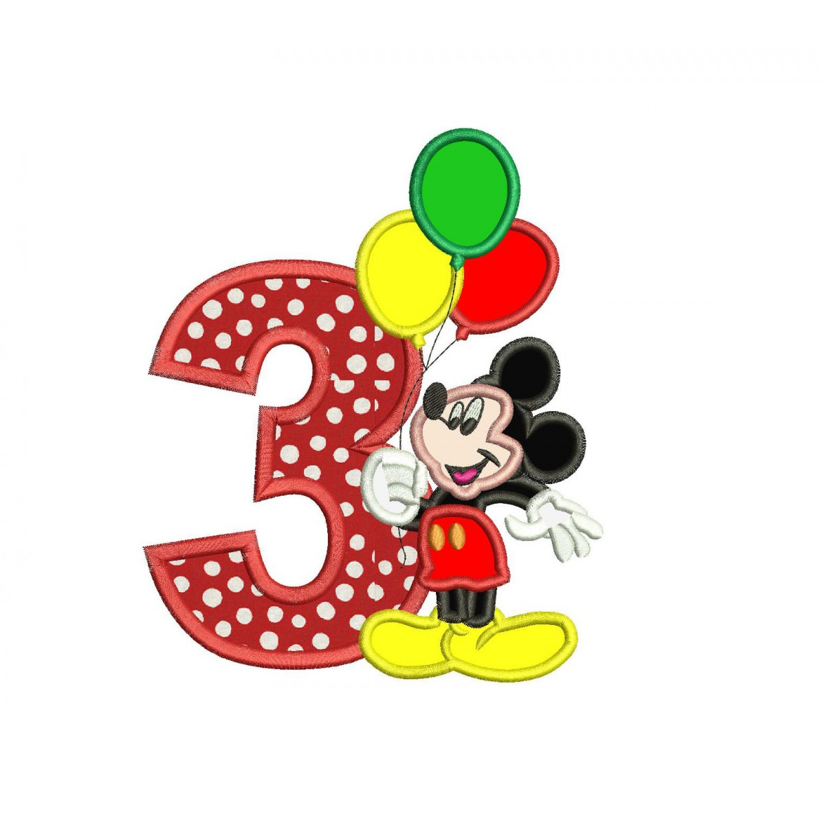 Mickey Mouse 3rd Birthday Holding A Balloons Applique Design
