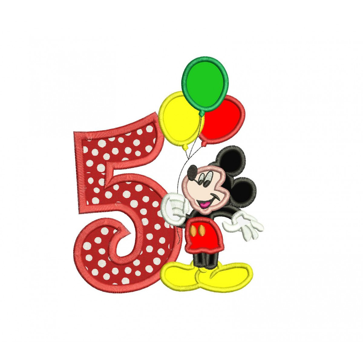 Mickey Mouse 5th Birthday Holding A Balloons Applique Design