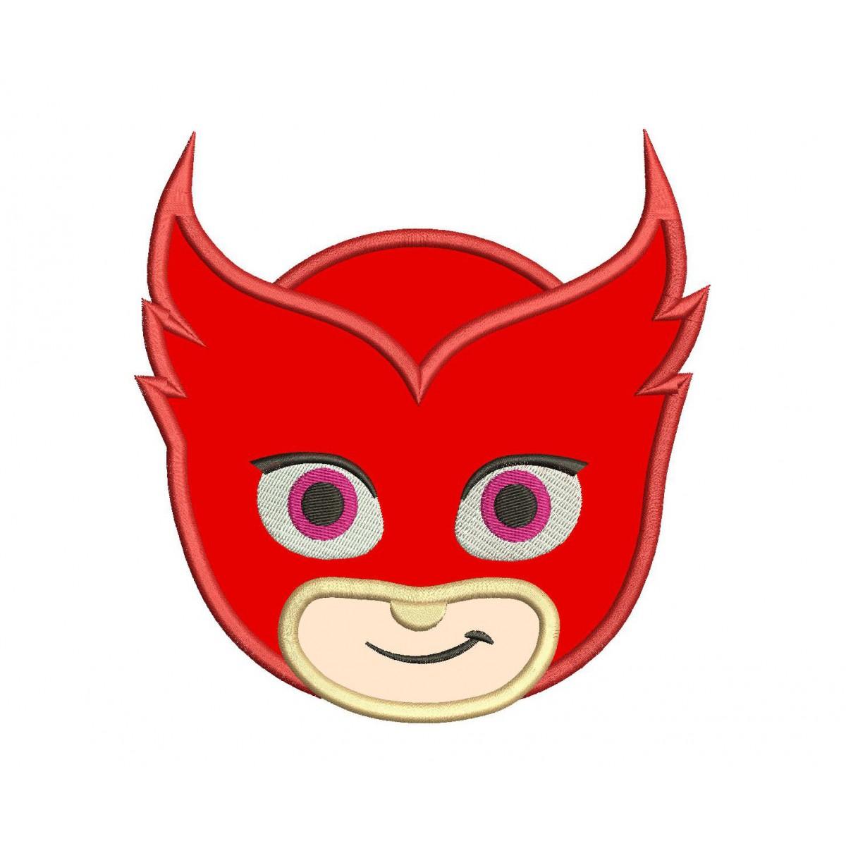 pj masks owlette head applique design