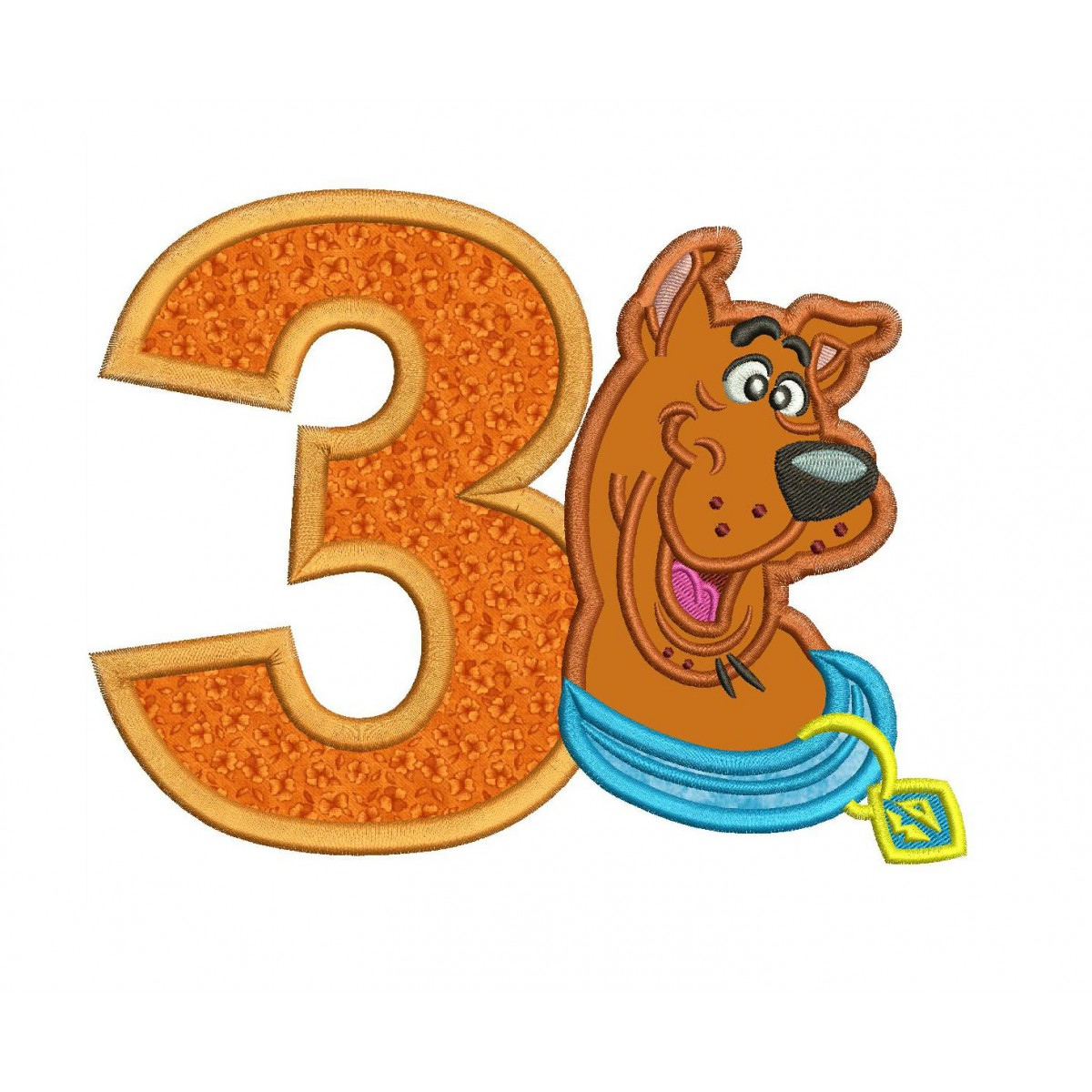 Scooby Doo 3rd Birthday Applique Design