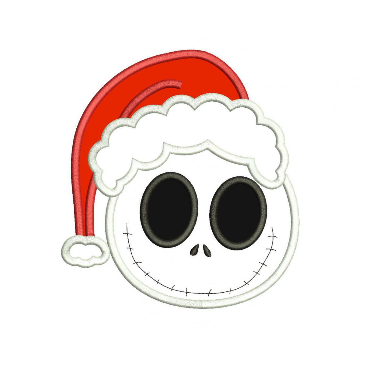 Jack Skellington Christmas.Smiling Face Jack Skellington Christmas Applique Design