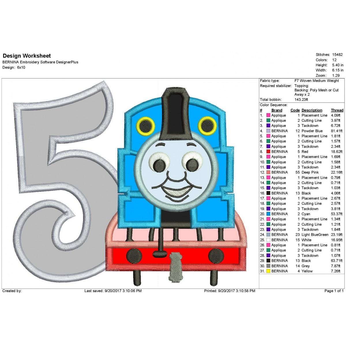 Thomas The Train 5th Birthday Applique Design