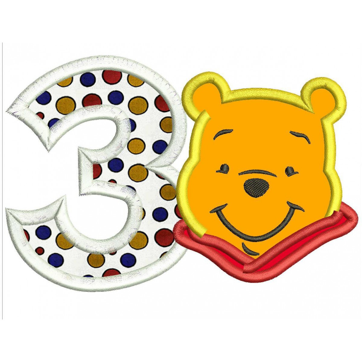 Winnie The Pooh 3rd Birthday Applique Design