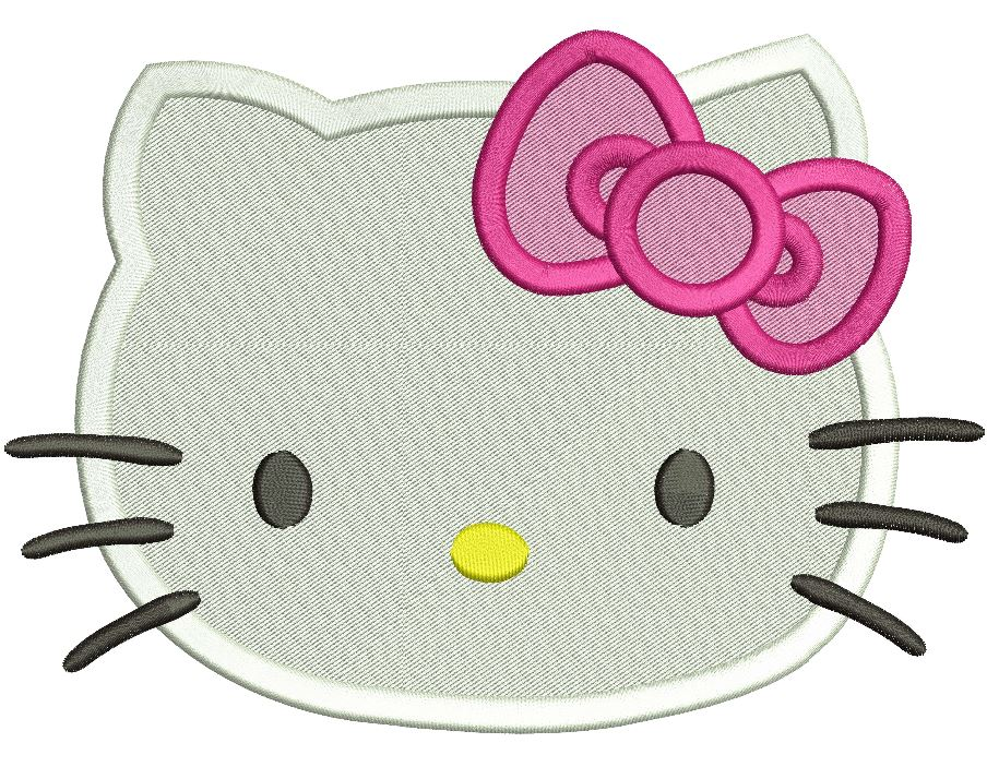 Hello kitty embroidery design filled stitch